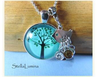 Chickadee Teal Tree-of-Life Silver Necklace with Swarovski Birthstone Charms