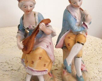 Porcelain Victorian Couple, Edwardian couple statues, elegant couple with musical instruments, collectible 6 inch vintage couple figurines