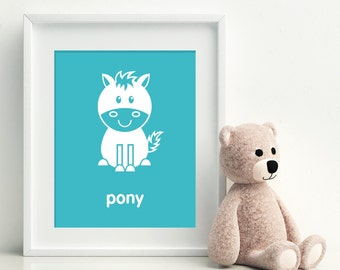 Nursery Art Print - Pony art poster - nursery art - child's room decor