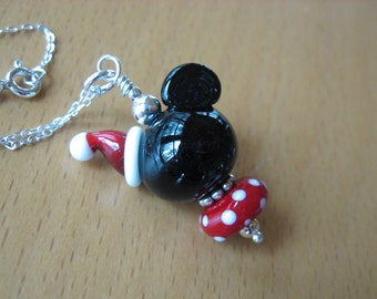 Mickey Christmas Necklace, Santa Hat Necklace, Mickey Santa Hat Necklace, Minnie Necklace, Disney Necklace, Mickey Lampwork Necklace