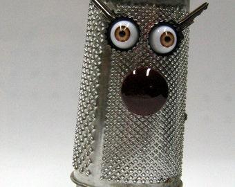 """Recycling RUSTY  ROBOT SCULPTURE -""""Cheese Terminator """"- assemblage art,metal sculpture,art sculpture,reused sculpture"""