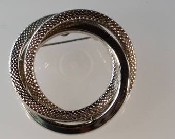 Silver Tone Textured Metal Circles Brooch or Pin