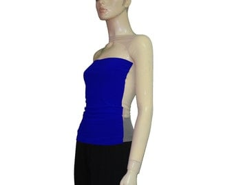 Backless top Sheer mesh shirt One shoulder royal blue strapless long sleeve party blouse