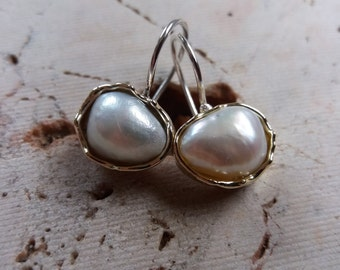 Gold and Silver Pearl Earrings
