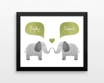 ELEPHANT Couple Personalized Art Print, Engagement Gift, Wedding Gift for Couple, Valentines Gift, Couples Gift, Animal Couple Wall Art