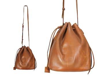 Brown Leather Drawstring Purse // Light Brown Leather Drawstring Shoulder Bag // H260
