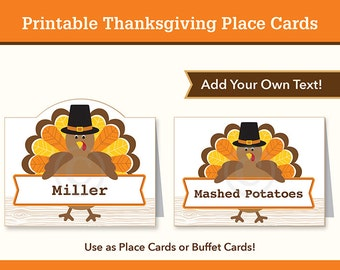 Thanksgiving Place Cards, Buffet Cards, Editable, Printable, Turkey
