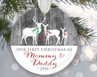 Our First Christmas as Mommy & Daddy Personalized Christmas Ornament New Parents Ornament Deer Gray Wood Keepsake Buck Doe Deer OR023