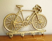 Vintage Brass Bicycle Key Rack, Bike Key Holder, Schwinn 10 Speed, Key Hanger, 1970's, Brass Figurines