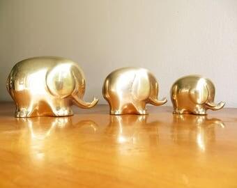 Vintage Brass Elephant Figurines, Elephant Family Statues, Gold Mid Century Modern Elephant Figurines, Polished Brass, Three, Trio