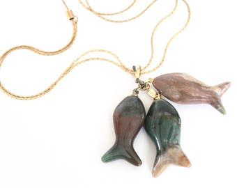 Vintage Polished Stone Fish Necklace / Fish Ornament / Pisces Necklace / Pisces birthday gift / Adjustable Necklace