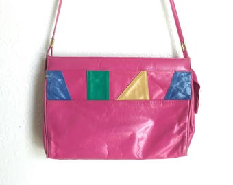 Pink vintage purse, geometric shape purse, multi-colored cross body purse, pink rainbow purse, vintage shoulder purse, hot pink purse