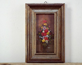 FLOWER PAINTING - vintage small wall hanging, painted paint floral bouquet, lovely golden wooden frame, wall decor, wall art, home decor