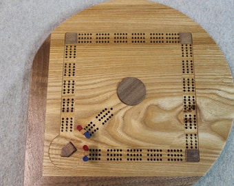 Baseball Field Shaped Cribbage Board in Ash Wood