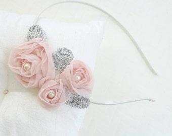 Chiffon Flower  Headband,  Wedding Head Piece, Bridesmaid Headband,Flower Girl Headband