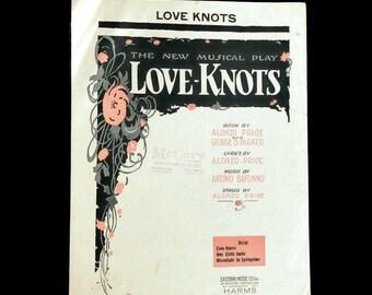 """Vintage Sheet Music """"Love Knots"""" 1920's Love Songs 1922 Scrapbooking Art Deco Music Decor Sheet Music Art Paper Flowers Sheet Music Bouquet"""