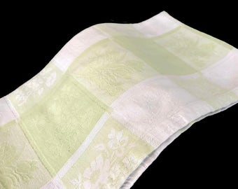 Vintage Tablecloth Light Green and White Damask Florals Farmhouse Kitchen Home Decor Cottage Chic Checked Tablecloth Large Table Cloth