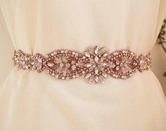rose gold Rhinestone Sash belt applique, bridal crystal floral sash applique, bridal sash belt, rose gold rhinestone sash, wedding sash