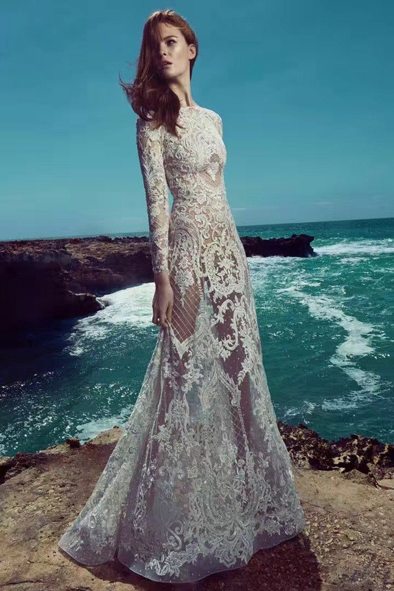 Embroidered tulle lace dresses