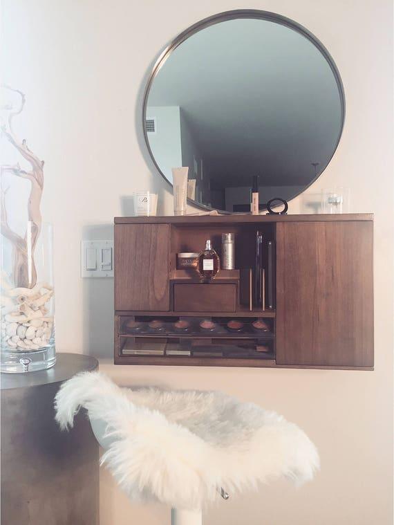 coffee brown wall mounted makeup organizer vanity