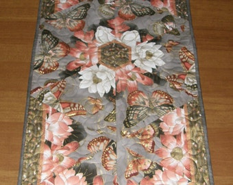 Quilted Table Runner, Floral Oriental Flavor Table Runner, Butterflies Gray Peach Table Runner, Formal Table Runner, Quiltsy Handmade