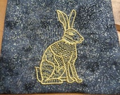 Hare or Rabbit Totem Embroidered Tarot or Magical Purpose Bag