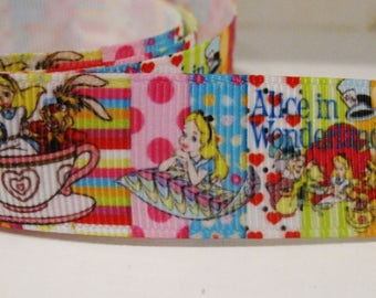 "NEW! Alice In Wonderland With Cheshire Cat Grosgran Ribbon 7/8""  (1Yard)"