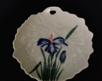 Vintage Japanese Hand Painted Unique Leaf Shaped Floral Designed Plate   (LDT5)