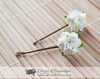 Hair grip White Lilac Syringa - Polymer Clay Flowers
