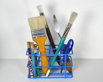 Vintage Electric Blue Lab Rack, Cobalt Blue Coated Metal Test Tube Holder, Workspace Storage, Desk Organizer, Utensil Caddy