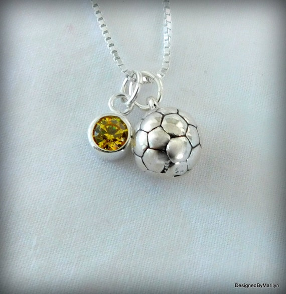 Sterling silver soccer necklace, sports necklace, athlete necklace, birthstone necklace, personalized jewelry, soccer ball