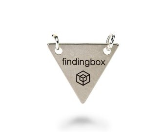 Antique Silver Triangle Jewelry Tag with 2 Holes, Laser Engraved Logo on Triangle Sequins, 15x15mm,19 Gauge,Pkg of 100 PCS, F14O.AS11.P100.C