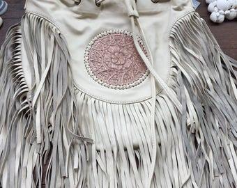 Genuine leather cream mandala bag