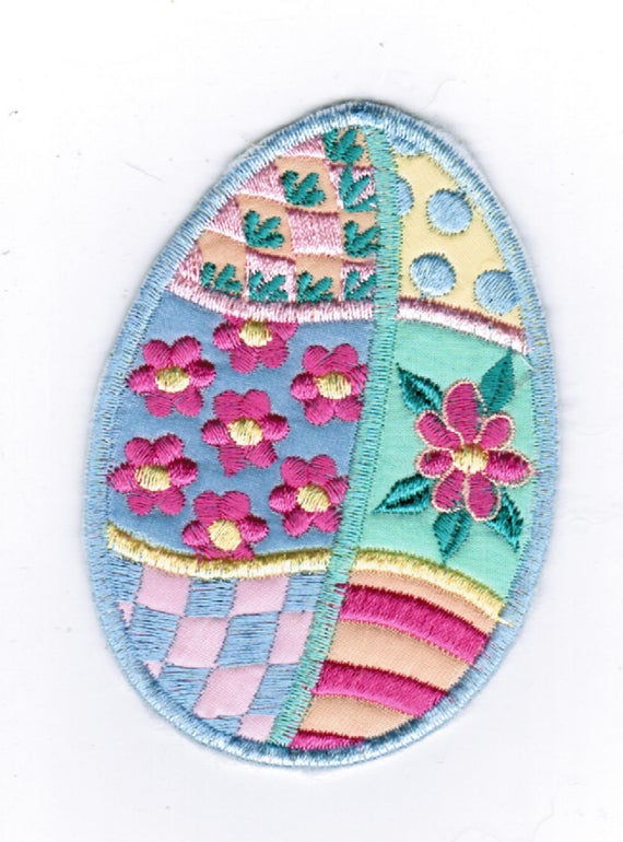 Patches for Jackets, Easter Egg Machine Made Iron on Applique, Patches for Jeans, FREE SHIPPING