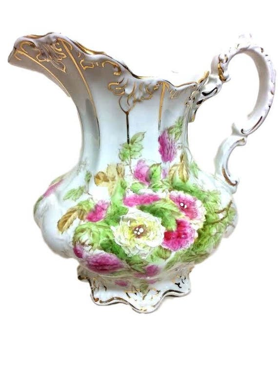 John Maddock Sons Royal Vitreous Porcelain Vintage Pitcher With Roses England