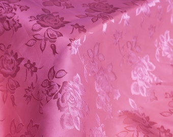 Fuschia Floral Jacquard Brocade Satin Fabric By the Yard Style 3006