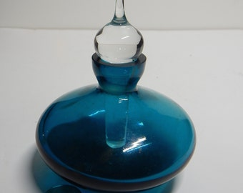 Deep Turquoise Blue Perfume Bottle with Dauber, see quarter for size, no fault