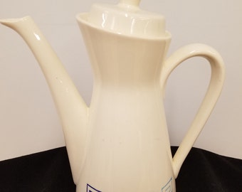 Mid Century Modern White Porcelain Coffee Carafe with Blue Greek Key Design, ca 1950s - 1960s