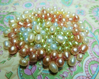 Freshwater Pearls - 1 scoop Mixed Lot 4 colors - Mauve, Light Blue, Light Green, and White 5-6mm