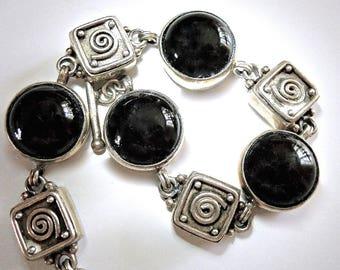 Black Onyx Cabochon Sterling Silver Bracelet, Vintage Link, 48.7 Grams