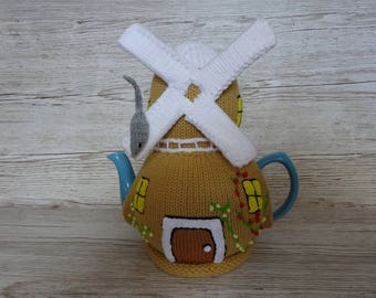 Knitted Tea Cosy Cozy Cosie Windmill with a mouse. Shabby Chic