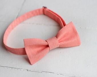Mens Peach bow tie, Mens Easter Bow tie, Peach wedding, Peach Mens bow tie, Spring Bow Tie