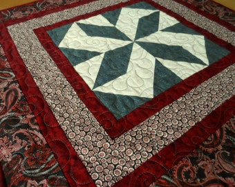 Quilted table topper, red, black, gray, contemporary patchwork table quilt, spinning star table mat, quiltsy handmade