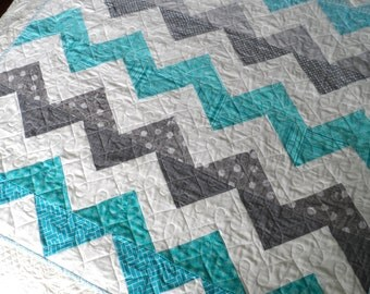 Chevron baby quilt, crib quilt, aqua and gray, modern baby quilt, baby bedding, baby shower gift, toddler quilt, lap quilt, quiltsy handmade