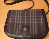Burberry Vintage Navy Nova Check Leather Saddle Messenger Bag