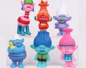 Trolls CAKE TOPPER Poppy Branch DJ Suki Biggie Cooper Guy Diamond 6 Figure Set Birthday Party Cupcakes Figurines * Fast Shipping *