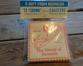 """Vintage """"Bermuda"""" Paper Coasters, Set Of 12, 1960's, New Old Stock, Never Been Used Or Opened - Bermuda Souvenirs - Vintage Paper Coasters"""