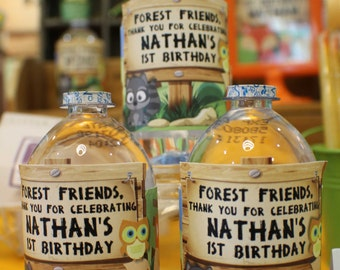 Customized Party Water Bottle Labels (Woodland / Forest Animals Theme) x 12 pcs