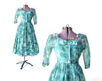1950s Dress Vintage 50s Party 50 Blue Rockabilly Retro