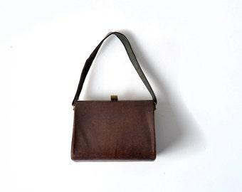 1950s Bag, Brown Bag, Brown Purse, Kelly Bag, 50s Bag 1950s Purse, 50s Purse,1950s Pocketbook, 1950s Handbag, Faux Lizard Bag, Vintage Bag,